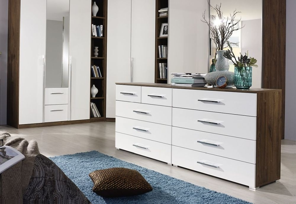 Rauch Essensa 3 Drawer Bedside Cabinet in Stirling Oak and Alpine White - (Pair)