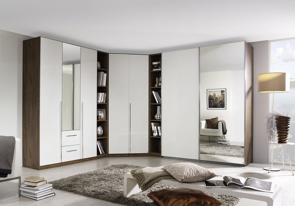Rauch Essensa Stirling Oak with White Glass L Shaped Folding Wardrobe with Chrome Coloured Handle - W 545cm