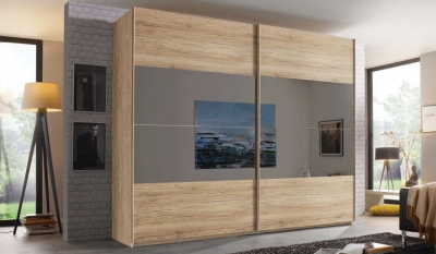 Rauch Filo 2 Door Sliding Wardrobe in Sanremo Oak Light - W 226cm