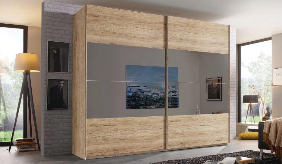 Rauch Filo 2 Door Sliding Wardrobe in Sanremo Oak Light - W 226cm