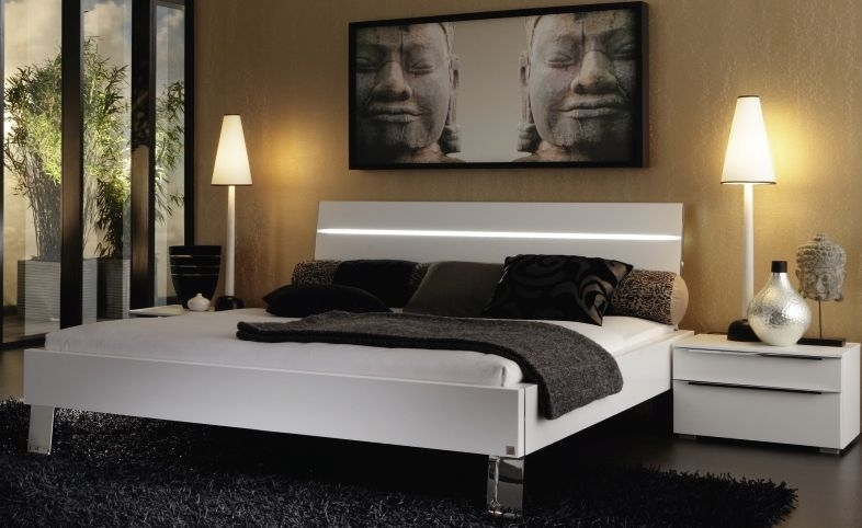 Perfect Rauch Fresh Line Alpine White Double Bed Frame With Horizontal LED Light  Headboard   140cm X