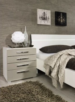 Rauch Fresh Line Alpine White with Cappuccino 2 Drawer Bedside Cabinet - W 48cm