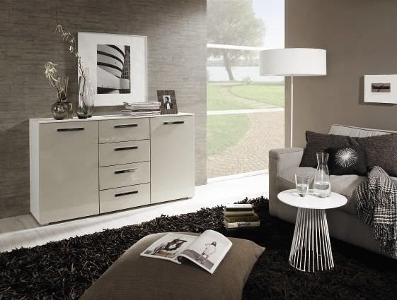 Rauch Fresh Line 4 Drawer Chest in Alpine White with Cappuccino