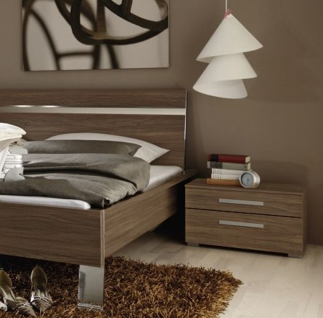 Rauch Fresh Line Royal Walnut 2 Drawer Bedside Cabinet - W 57cm