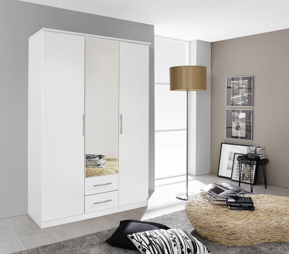 Rauch Gronau Alpine White 3 Door 2 Drawer 1 Mirror Combi Folding Wardrobe with Cornice - W 136cm