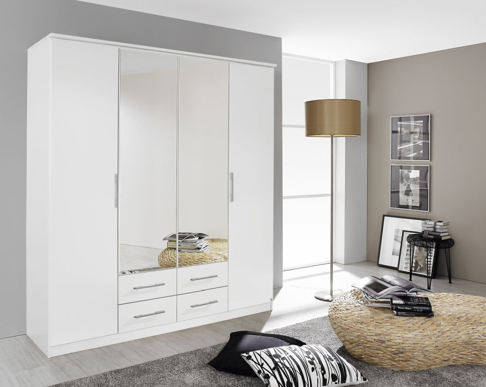 Rauch Gronau Alpine White 4 Door 4 Drawer 2 Mirror Combi Folding Wardrobe with Cornice - W 181cm