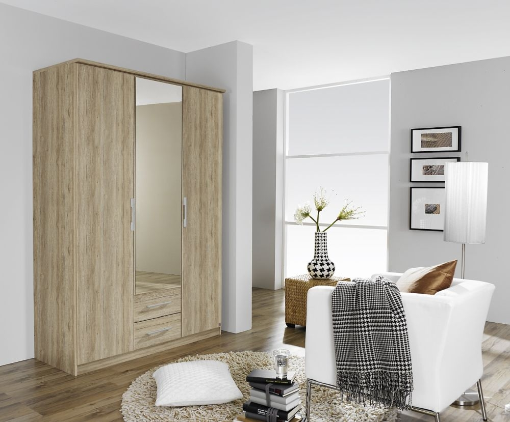 Rauch Gronau Sanremo Oak Light 4 Door 4 Drawer 2 Mirror Combi Folding Wardrobe with Cornice - W 181cm