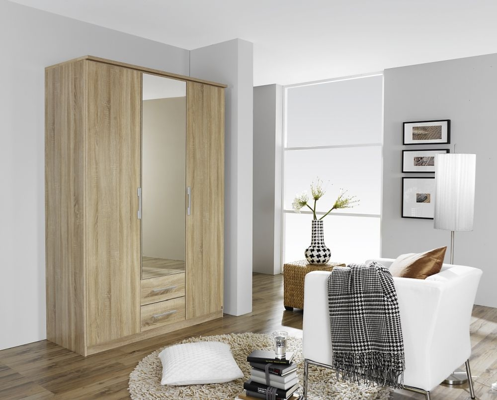 Rauch Gronau Sonoma Oak 3 Door 2 Drawer 1 Mirror Combi Folding Wardrobe with Cornice - W 136cm