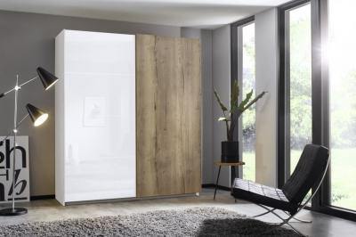 Rauch Halifax 2 Door Sliding Wardrobe in Alpine White and Glass White with Oak - W 181cm