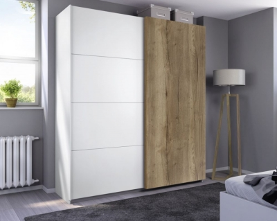 Rauch Halifax 2 Door Sliding Wardrobe in Alpine White and Oak - W 181cm