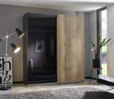 Rauch Halifax 2 Door Sliding Wardrobe in Metallic Grey and Glass Basalt with Oak - W 181cm