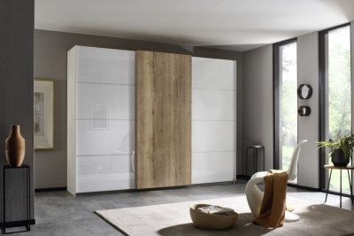 Rauch Halifax 3 Door Sliding Wardrobe in Alpine White and Glass White with Oak - W 271cm