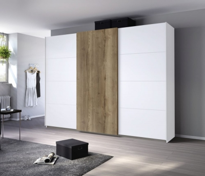 Rauch Halifax 3 Door Sliding Wardrobe in Alpine White and Oak - W 271cm