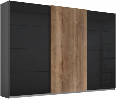 Rauch Halifax 3 Door Sliding Wardrobe in Metallic Grey and Glass Basalt with Oak - W 271cm
