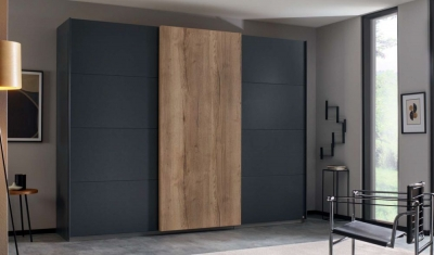 Rauch Halifax 3 Door Sliding Wardrobe in Metallic Grey and Oak - W 271cm