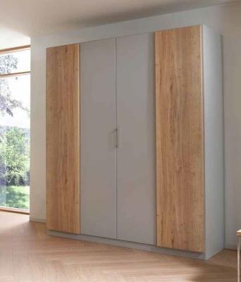 Rauch Halifax 4 Door Wardrobe in Alpine White and Oak - W 181cm