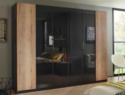 Rauch Halifax 6 Door Wardrobe in Metallic Grey and Glass Basalt with Oak - W 271cm