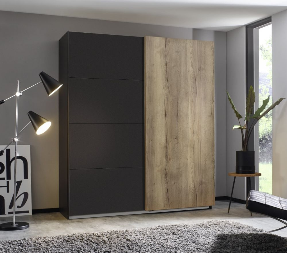 Rauch Halifax 2 Door Sliding Wardrobe in Metallic Grey and Oak - W 181cm