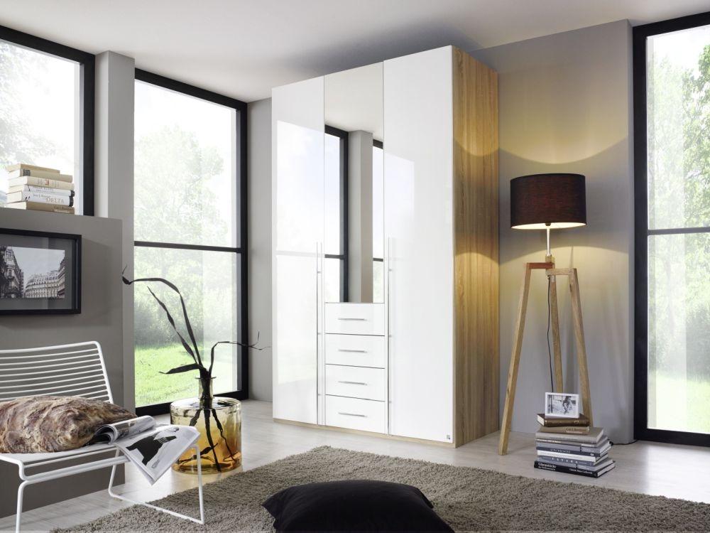 Rauch Harvard C 3 Door 4 Drawer Combi Folding Wardrobe in Oak and High Gloss White - W 136cm