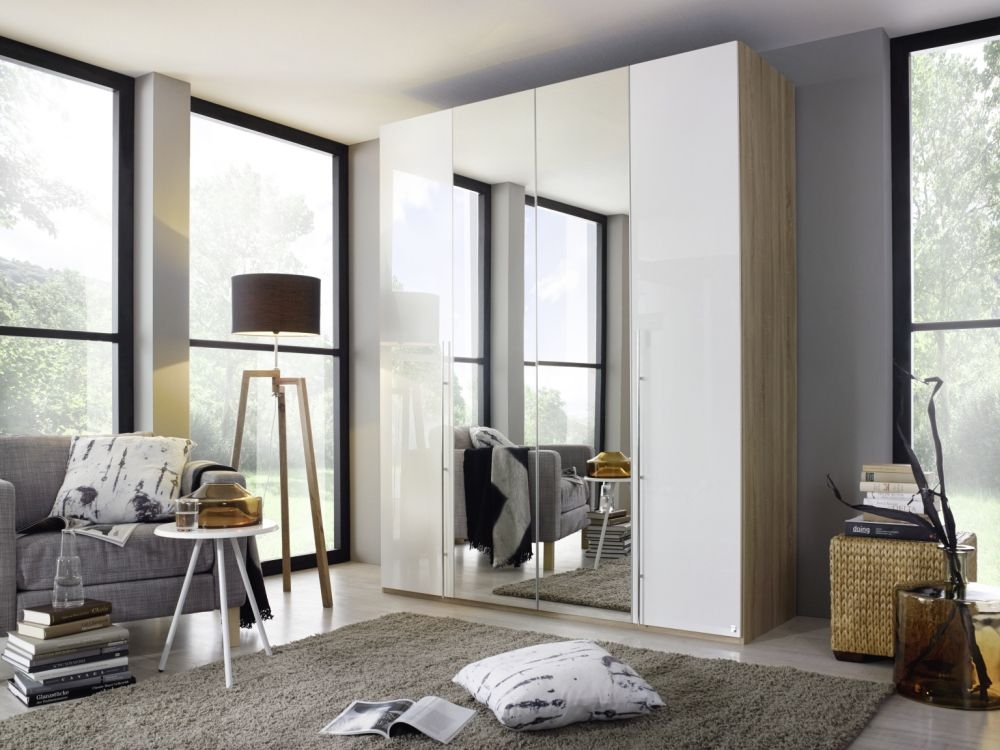 Rauch Harvard C 3 Door Folding Wardrobe in Oak and High Gloss White - W 136cm