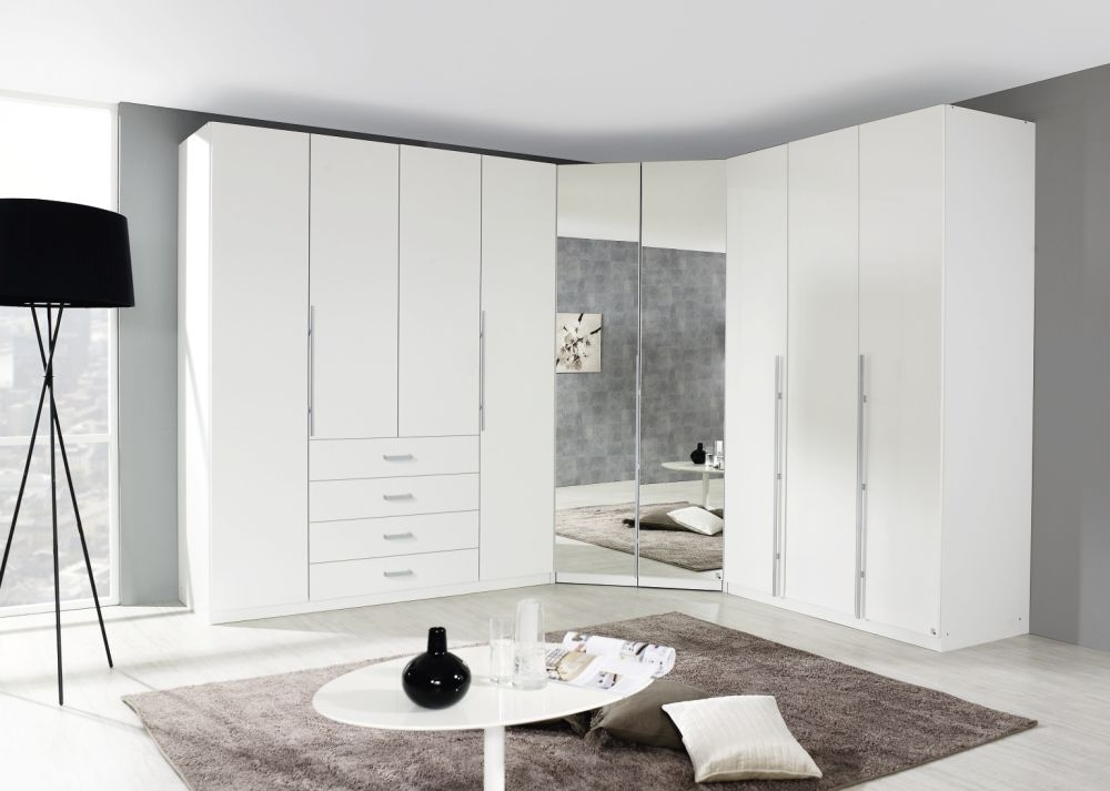 Rauch Harvard 9 Door 4 Drawer L Shaped Folding Wardrobe in Alpine White - W 440cm