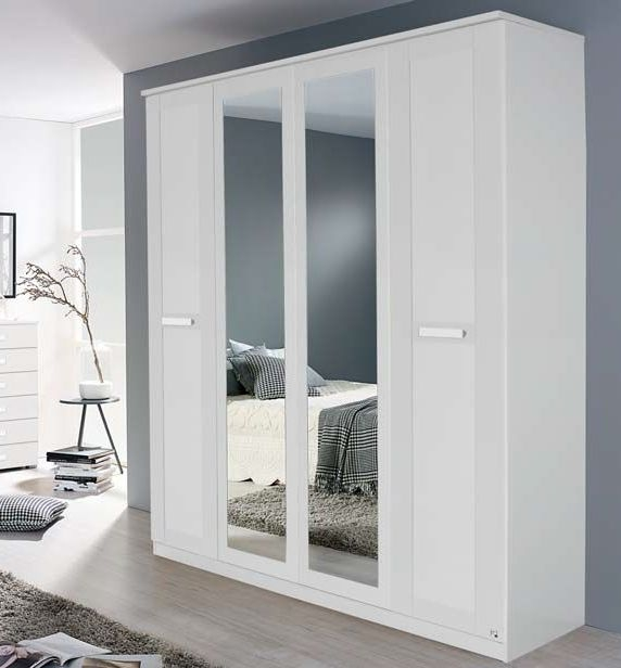 Rauch Herne Alpine White 2 Door 2 Drawer 1 Mirror Wardrobe with Cornice - W 91cm