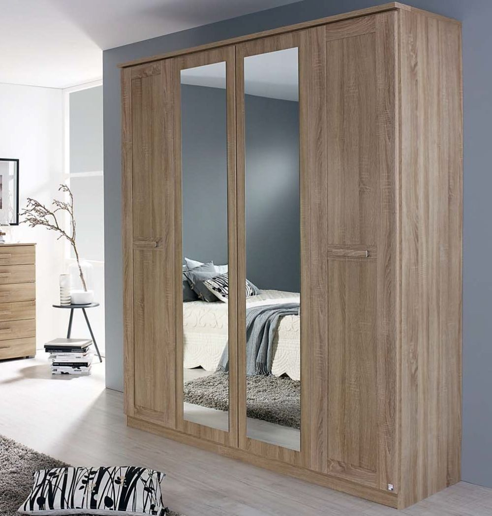 Rauch Herne Sonoma Oak 4 Door 2 Drawer 2 Mirror Wardrobe with Cornice - W 181cm