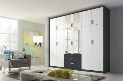 Rauch Hildesheim Extra 12 Door Combi Wardrobe in Metallic Grey and White - W 275cm