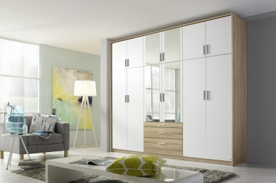 Rauch Hildesheim Extra 12 Door Combi Wardrobe in Oak and White - W 275cm