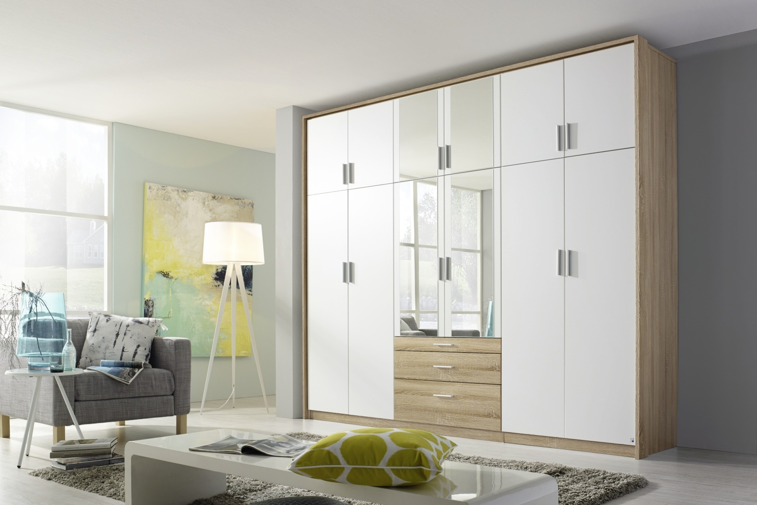 Rauch Hildesheim Extra 12 Door Combi Wardrobe in Oak and White - W 275cm