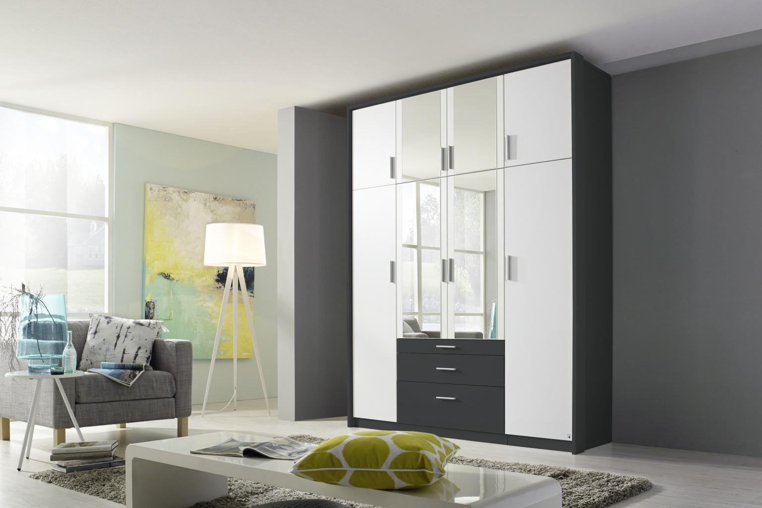 Rauch Hildesheim Extra 8 Door Combi Wardrobe in Metallic Grey and White - W 186cm