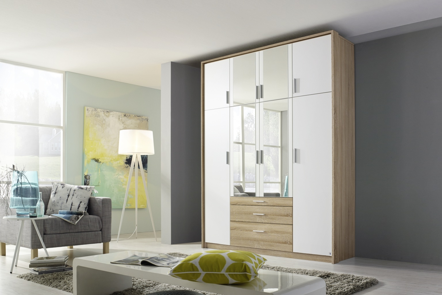 Rauch Hildesheim Extra 8 Door Combi Wardrobe in Oak and White - W 186cm