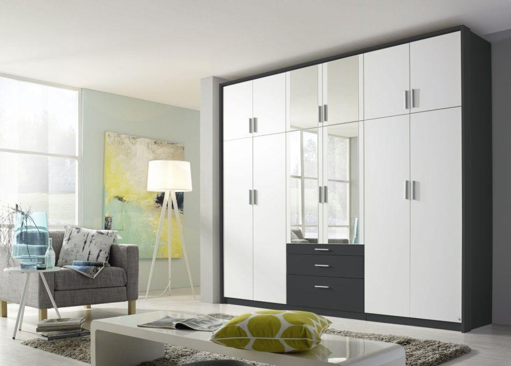 Rauch Hildesheim Extra 10 Door 3 Drawer 2 Mirror Combi Wardrobe in Metallic Grey and Alpine White with Passepartout - W 231cm