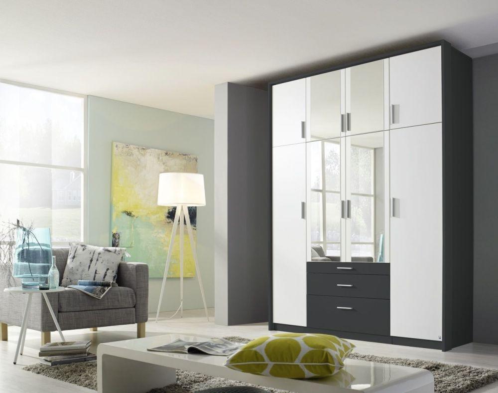 Rauch Hildesheim Extra 8 Door 3 Drawer 4 Mirror Combi Wardrobe in Metallic Grey and Alpine White with Passepartout - W 186cm
