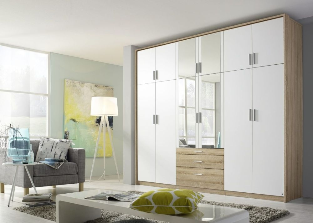 Rauch Hildesheim Extra 12 Door 3 Drawer 4 Mirror Combi Wardrobe in Sonoma Oak and Alpine White with Passepartout - W 275cm