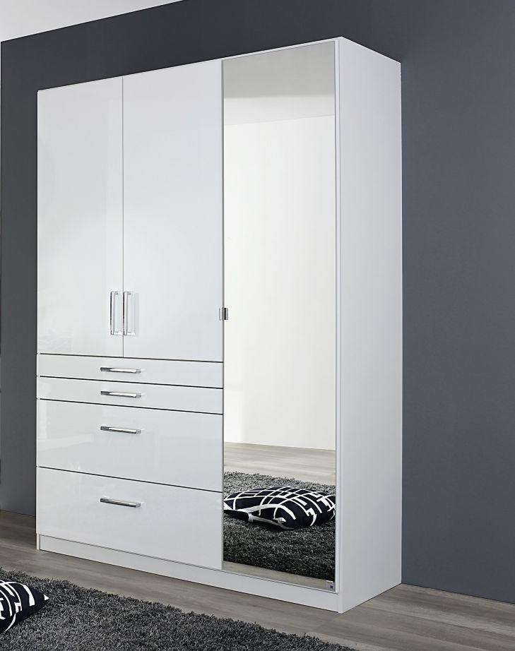 Rauch Homburg 3 Door 1 Mirror 4 Drawer Combi Wardrobe in Alpine White and High Gloss White - W 136cm