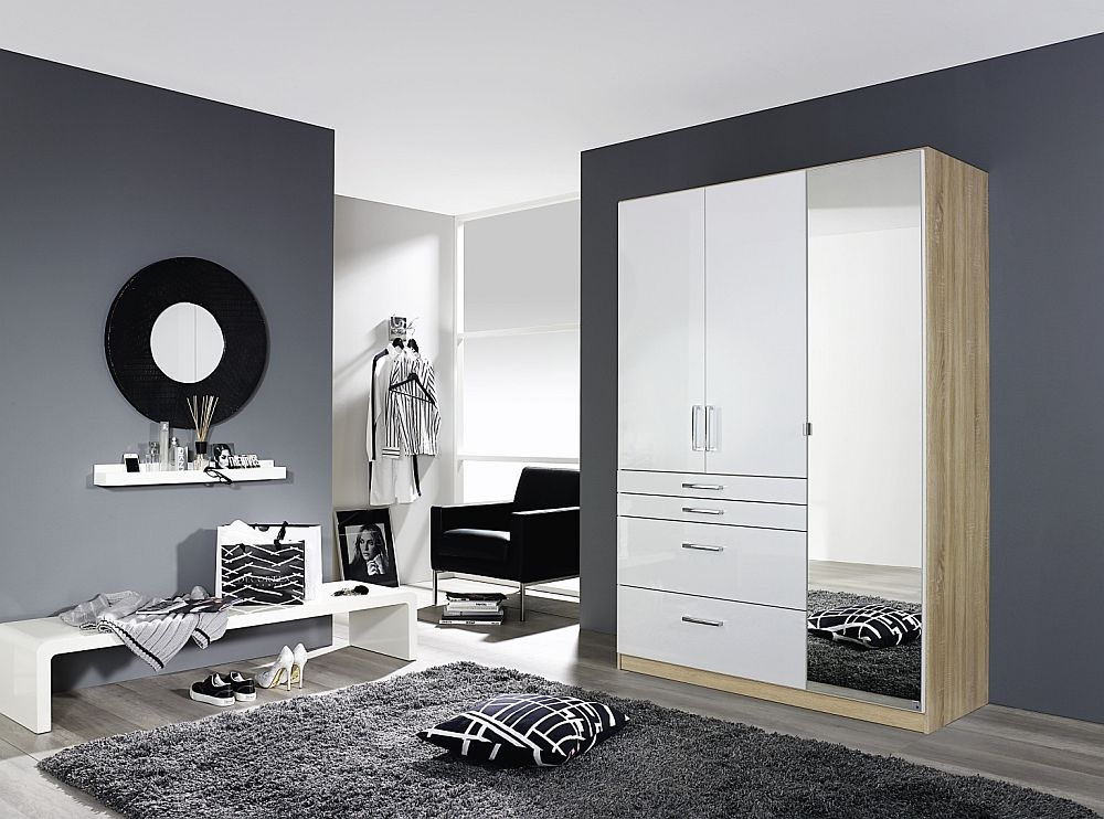 Rauch Homburg 3 Door Combi Wardrobe in Oak and White Gloss - W 136cm