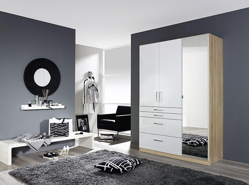 Rauch Homburg 3 Door Combi Wardrobe in Oak and White - W 136cm