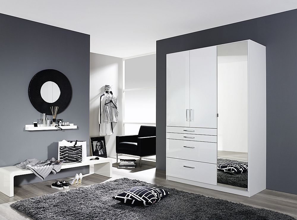 Rauch Homburg 3 Door Combi Wardrobe in White - W 136cm