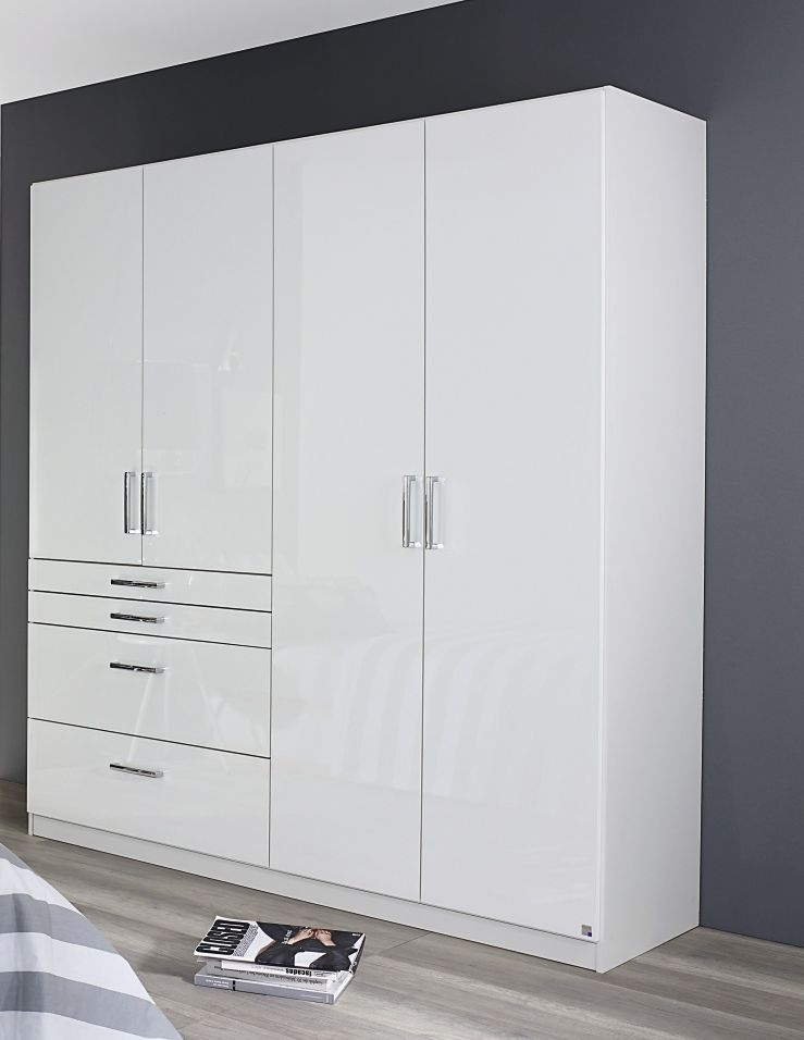 Rauch Homburg 4 Door 4 Drawer Combi Wardrobe in Alpine White and High Gloss White - W 181cm