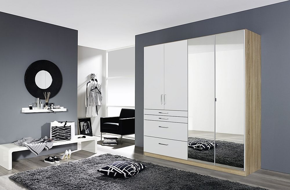 Rauch Homburg 4 Door Combi Wardrobe in Oak and White Gloss - W 181cm