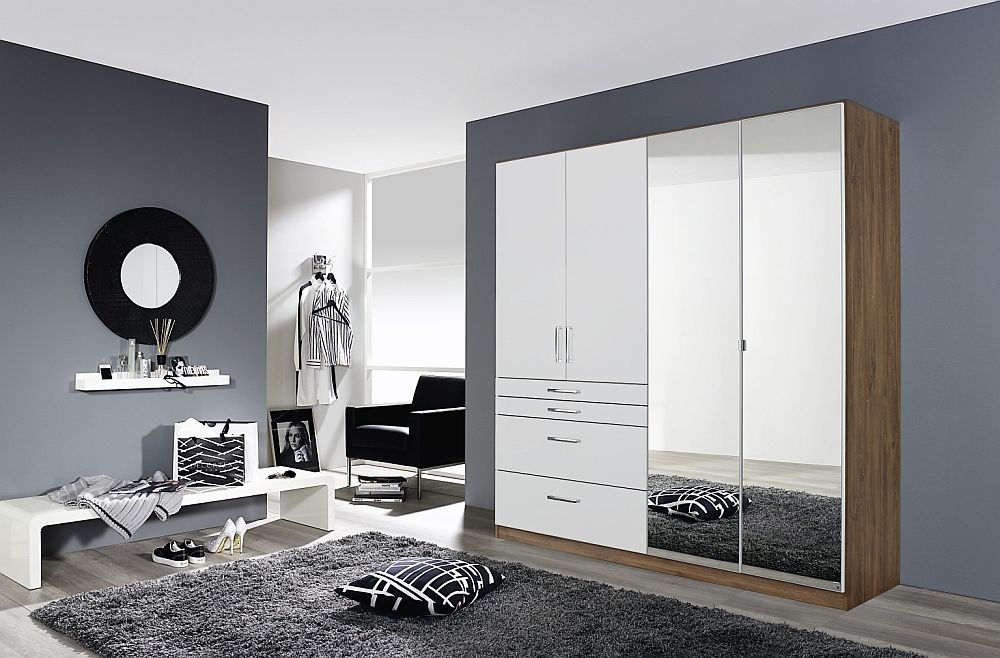 Rauch Homburg 4 Door Combi Wardrobe in Stirling Oak and White - W 181cm