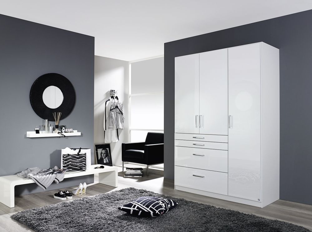 Rauch Homburg Alpine White with High Gloss White 3 Door and 4 Drawer Wardrobe - W 136cm