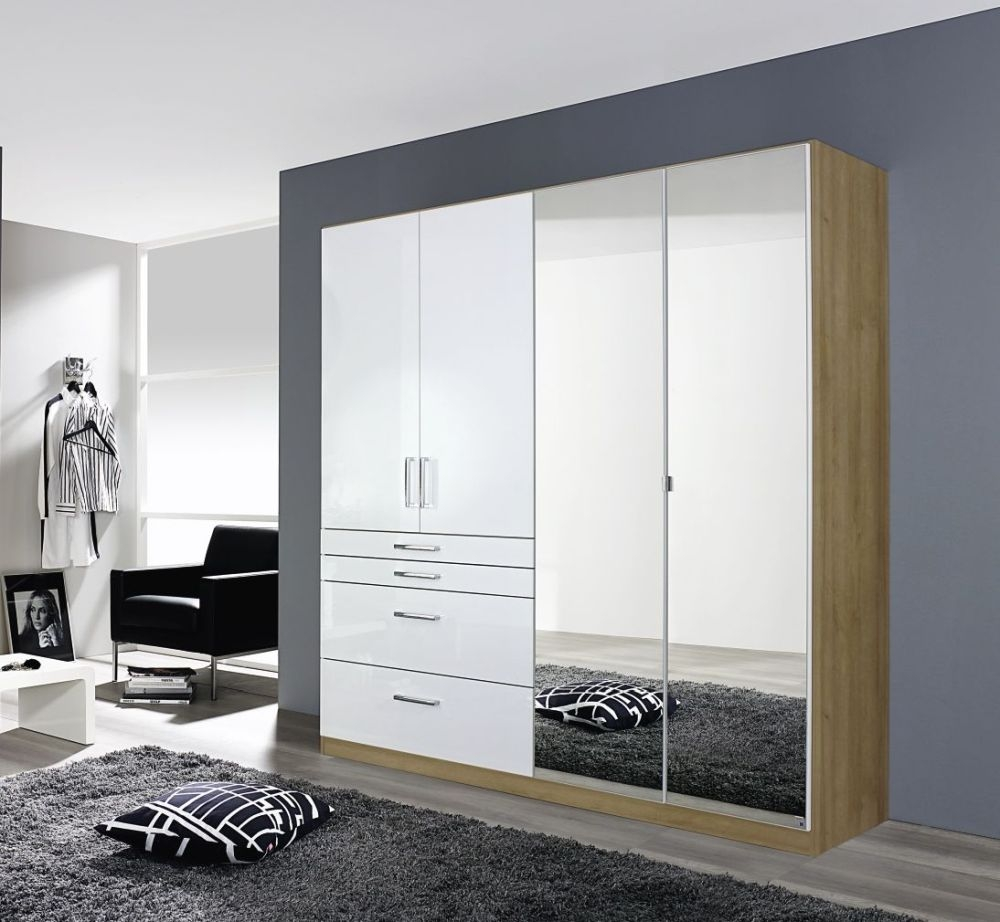 Rauch Homburg 4 Door 4 Drawer 2 Mirror Combi Wardrobe in Riviera Oak and High Gloss White - W 181cm