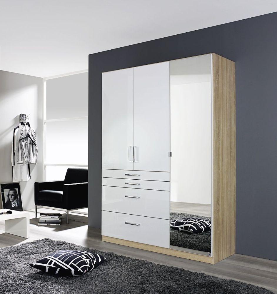 Rauch Homburg 3 Door 4 Drawer 1 Mirror Combi Wardrobe in Sonoma Oak and High Gloss White - W 136cm