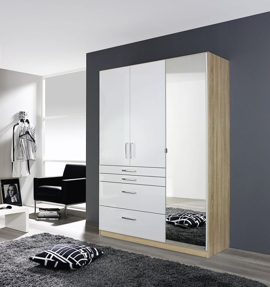 Rauch Homburg Sonoma Oak with High Gloss White 4 Door and 4 Drawer Wardrobe - W 181cm