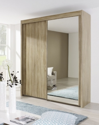 Rauch Imperial 2 Door Mirror Sliding Wardrobe in Sonoma Oak - W 181cm
