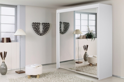 Rauch Imperial 2 Door All Mirror Sliding Wardrobe in White - W 181cm