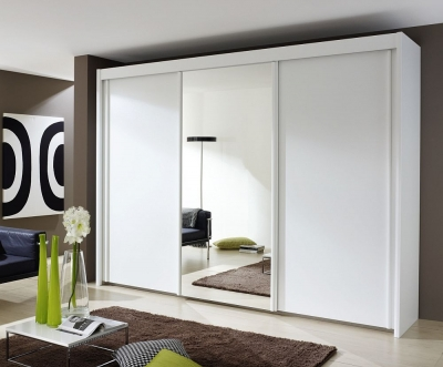 Rauch Imperial 3 Door Mirror Sliding Wardrobe in White - W 300cm