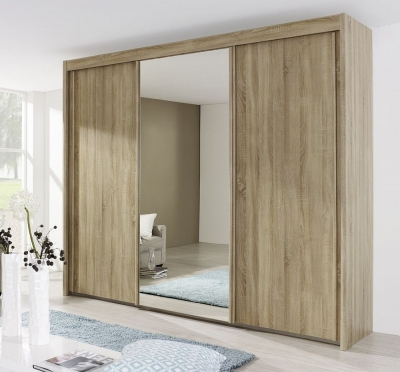 Rauch Imperial 3 Door Mirror Sliding Wardrobe in Sonoma Oak - W 280cm